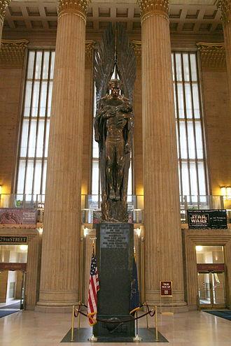 Walker Hancock - Angel of the Resurrection (1950-52), Pennsylvania Railroad World War II Memorial, 30th Street Station, Philadelphia, Pennsylvania.