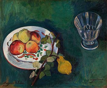 345Suzanne Valadon (1865 – 1938) Still life with fruit and glass (1910).jpg