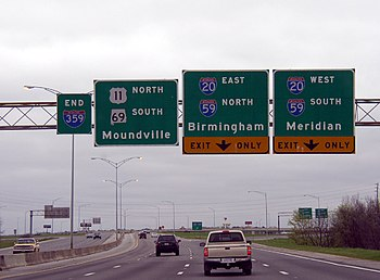 English: Interstate 359 south at Interstates 2...