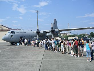 Yokota Air Base - Friendship Festival - Local Japanese entering a C-130