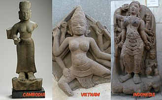 Durga - Goddess Durga in Southeast Asia, from left: 7th/8th century Cambodia, 10/11th century Vietnam, 8th/9th century Indonesia.