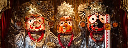 The Jagannath Triad. 3 Odisha Hindu deities Jagannath Baladeva Subhadra.jpg