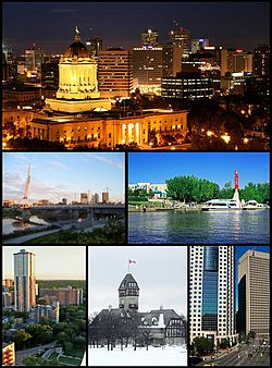Med klokka frå toppen: Sentrum med Legislative Building, The Forks, Portage and Main med Richardson Building og Canwest Place, Assiniboine Park Pavilion, Osborne Village, Esplanade Riel
