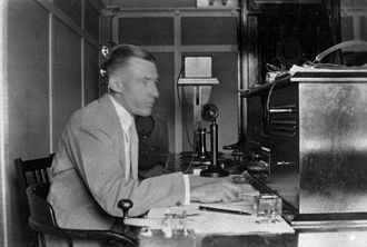 ABC Capricornia - G. Gardiner, radio announcer in the studio at the Rockhampton post office in 1931