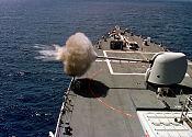 A 5in (130mm) Mark 45 gun being fired from a Ticonderoga-classcruiser