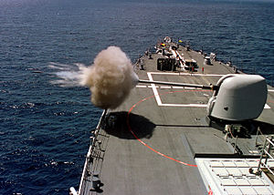 "5""/54 caliber Mark 45 gun - Image: 5 54 Mark 45 firing edit"