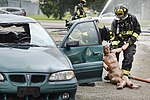 788th Civil Engineer Fire Department firefighters drag mannequin from car in August 4 2017 training exercise.jpg