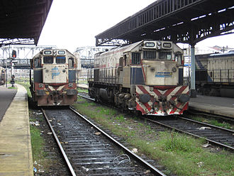 General San Martín Railway - Two Ferrobaires locomotives, used for interurban services.