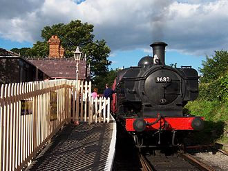 Chinnor - Preserved GWR steam locomotive on a train at Chinnor railway station