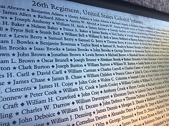 Thornton Chase - Names from the plaque on the African American Civil War Memorial of the 26th Regiment, USCI, James B. Chase on 13th line near left