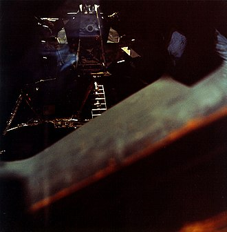 Apollo 10 - LM Snoopy containing Stafford and Cernan, as inspected by Young after separation from Charlie Brown