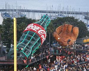 AT&T Park - The Coca-Cola bottle and old-fashioned glove