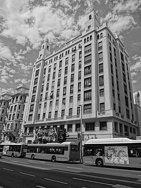 A Black and white photograph of building at Gran Via, Madrid Spain 035.JPG