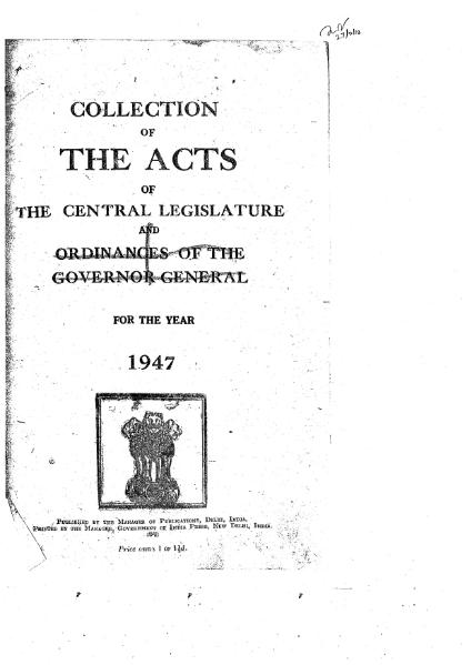 File:A Collection of the Acts of the Central Legislature and Ordinances of the Governor General of India, 1947.djvu