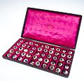 A case filled with a selection of 50 glass eye Wellcome L0036572.jpg