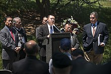 A ceremony honoring Hmong and Lao combat veterans at the memorial tree and plaque in Arlington National Cemetery (17068944694).jpg