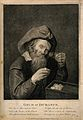 A miser looks at his hoard of gold through his spectacles, w Wellcome V0015825.jpg