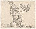 A winged putto flogging a satyr tied to a tree MET DP832634.jpg