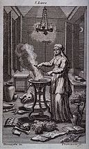 A witch casting spells over a steaming cauldron. Engraving b Wellcome V0025855