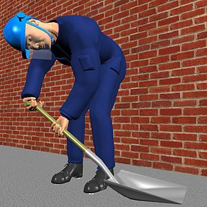 Shovel - Typical action when shoveling material from the ground