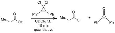 Formation of acid chloride by cyclopropenium derivative