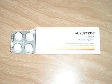 Acylpyrin v dnes již nepoužívaném obalu