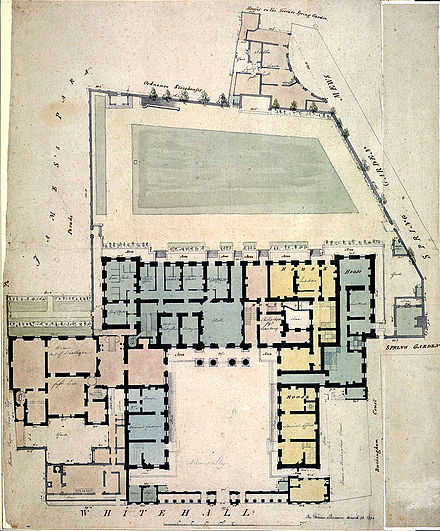 The Admiralty complex in 1794. The colours indicate departments or residences for the several Lords of the Admiralty. The pale coloured extension behind the small courtyard, on the left is Admiralty House. Admiralty 1794 Draughtsman; Chawner, Thomas.jpg