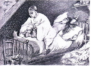 Cercle Funambulesque - Pierrot tickles Columbine to death.  Drawing by Adolphe Willette in Le Pierrot, December 7, 1888, inspired by Paul Margueritte's Pierrot, Murderer of His Wife (1881).