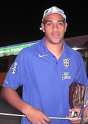 Adriano (footballer, born 1982) - Adriano wearing the Brazil national football team training jersey.