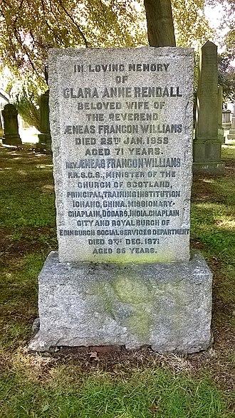 Aeneas Francon Williams - The gravestone of Aeneas Francon Williams and his wife Clara Anne Rendall at Dean Cemetery, Edinburgh