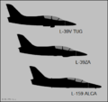 Aero L-39 and L-159 Albatros variants side-view silhouettes.png