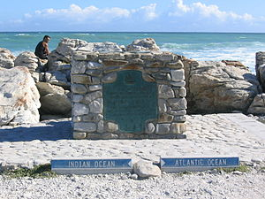 Cape Agulhas - A marker at Cape Agulhas indicates the official dividing line between the Atlantic and Indian oceans.