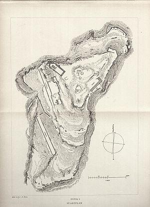 Aigai (Aeolis) - Plan of Aigai drawn by Richard Bohn in 1889