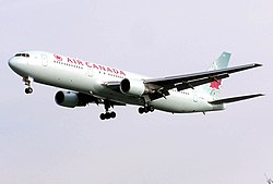 Air Canada B767-300ER (C-GGFJ) landing at London Heathrow Airport (2).jpg