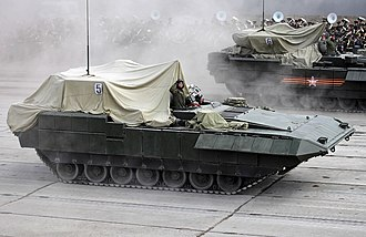 2015 Moscow Victory Day Parade - T-15 and Kurganets-25 during a rehearsal for the parade with covered turrets
