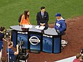 Alanna Rizzo and Nomar Garciaparra, Dodger Pregame Broadcast, Dodger Stadium, Los Angeles, California (14516459724).jpg
