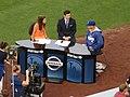 Alanna Rizzo and Nomar Garciaparra, Dodger Pregame Broadcast, Dodger Stadium, Los Angeles, California (14516459724).jpg