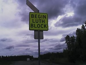 Direct traffic control - A DTC block sign for the Luthman block on the Alaska Railroad.