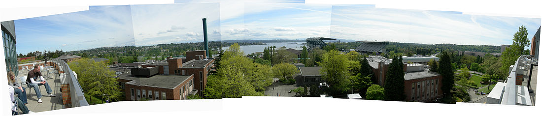 Panoramic view from the Alberg Terrace of the Allen Building (Computer Science & Engineering) looking East between the Mechanical Engineering building (left) and Civil Engineering building (right). Husky Stadium is in the distance to the right.