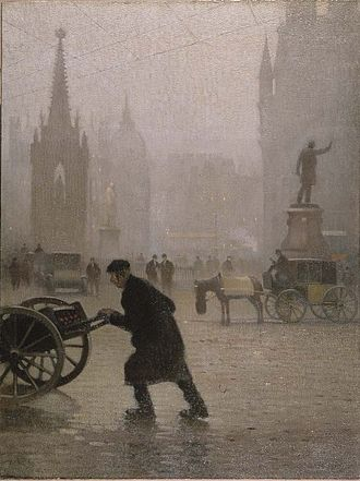 Albert Square, Manchester - Albert Square, as depicted in a 1910 oil painting by Adolphe Valette. The Albert Memorial (left) and Gladstone statue (right) can be seen in the foreground.