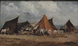 Campement de bohémiens au champ de manoeuvre près d'Alger