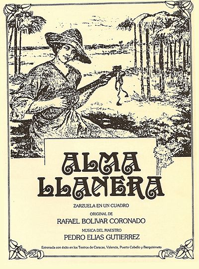 Cover of the first edition of Alma Llanera, unofficial second national anthem of Venezuela Alma llanera.jpg