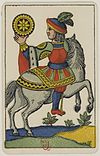 Aluette card deck - Grimaud - 1858-1890 - Knight of Coins.jpg