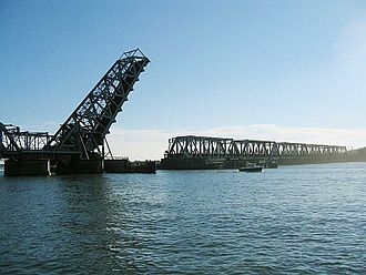 Amtrak Old Saybrook – Old Lyme Bridge - A view of the bridge in the open position on August 5, 2007.