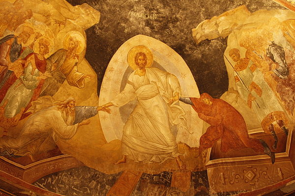 In Harrowing of Hades, fresco in the parecclesion of the Chora Church, Istanbul, c. 1315, raising Adam and Eve is depicted as part of the Resurrection icon, as it always is in the East. Anastasis at Chora.jpg