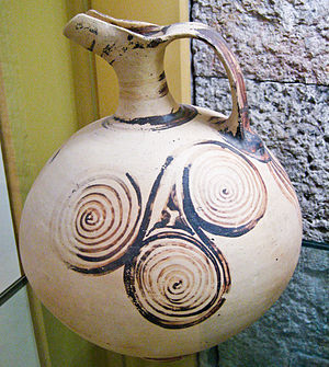 Triskelion - Ancient Greek beaked jug decorated with triple spirals