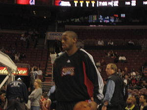 Andre Iguodala - Iguodala warming up prior to a game for the 76ers