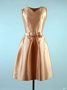 ca1873928b72 Apricot-colored dress worn by Jacqueline Kennedy.