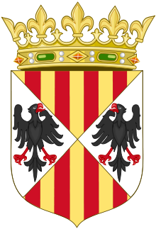 Coat of arms of Sicily, with red and yellow stripes, depicting two eagles