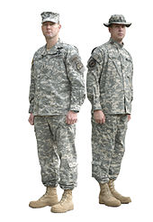 Two soldiers in 2005 wearing the Army Combat Uniform in the Universal  Camouflage Pattern